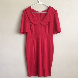 Red peter pan collar, dress